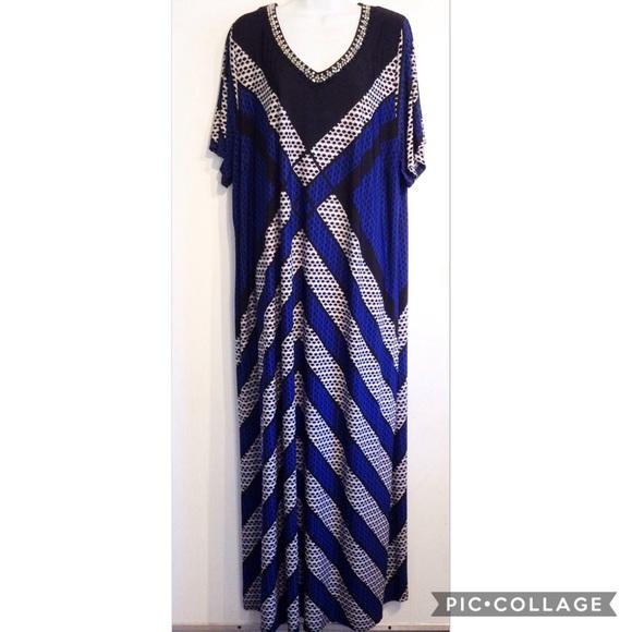 CATHERINES Plus Size Beaded Neckline Maxi Dress